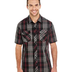 Men's Short-Sleeve Plaid Pattern Woven Shirt Thumbnail