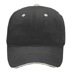 OTTO Brushed Bamboo Twill Sandwich Visor Six Panel Low Profile Baseball Cap Thumbnail